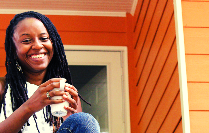How to Allow Yourself to Feel Featured Image with Black Woman Smiling Drinking Tea